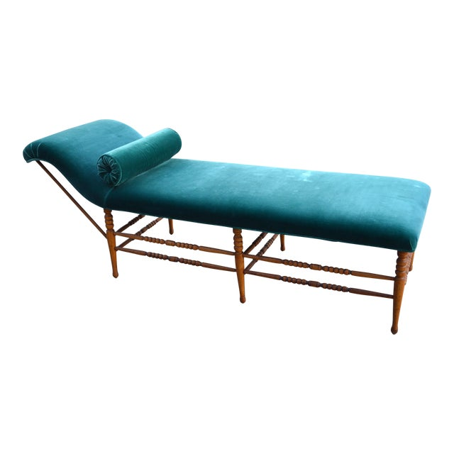 Late 19th Century Antique Peacock Velvet Chaise Lounge For Sale