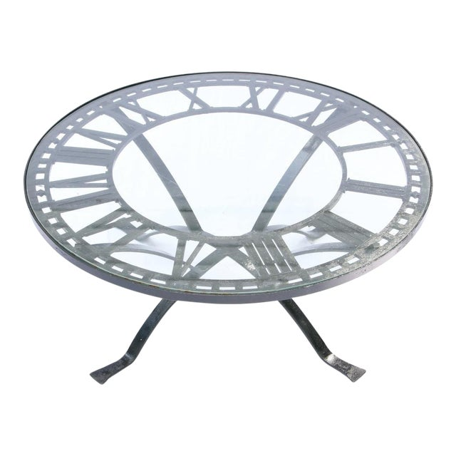 Antique Cast Iron Clock Face Coffee Table For Sale