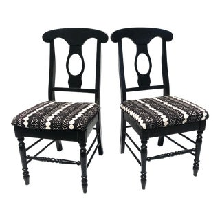 """Mudcloth Inspired """"The Pebbles Chairs"""" - A Pair"""