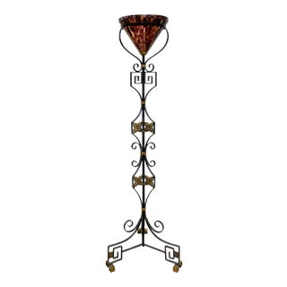 Maitland Smith Iron Brass and Penshell Greek Key Torchiere Floor Lamp For Sale