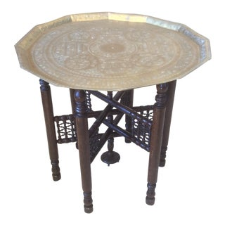 Moorish Style Antique Brass Tray Table