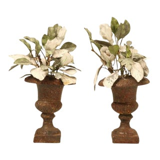 Decorative Leaves & Porcelain Flowers in Urns - A Pair For Sale