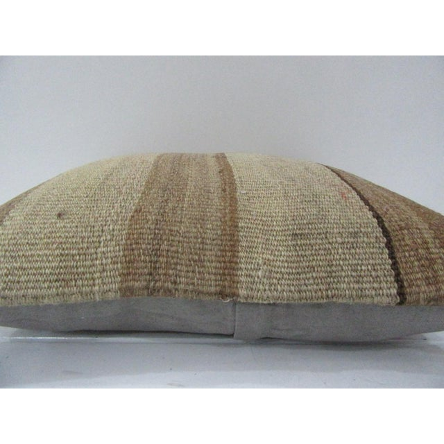 Islamic Vintage Handmade Brown Striped Kilim Pillow Cover For Sale - Image 3 of 4