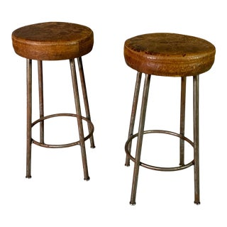 1940s Industrial Stool, Original Leather Seats - a Pair For Sale