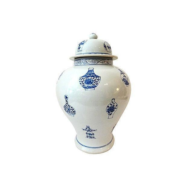 LG Hand-Painted Blue & White Ginger Jar - Image 4 of 7