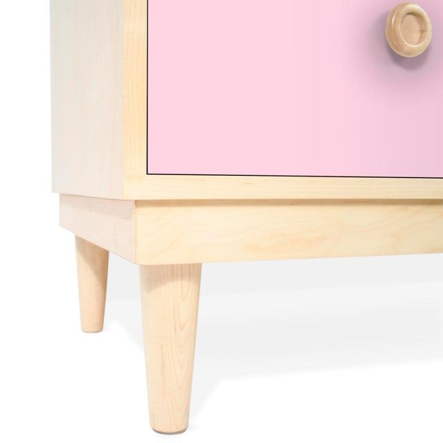 Nico & Yeye Nico & Yeye Luke Modern Kids 6-Drawer Dresser Solid Maple and Maple Veneers Pink For Sale - Image 4 of 6