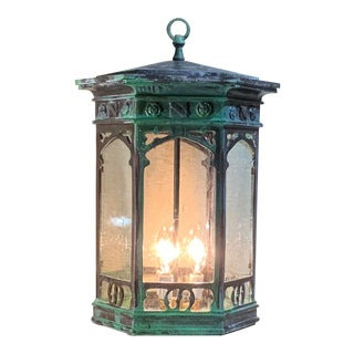 1990s Six Sided Bronze Hanging Lantern For Sale