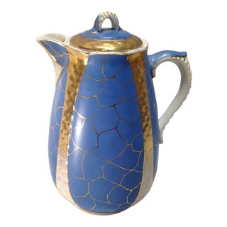 Antique Blue & Gold Porcelain Coffee Pot For Sale