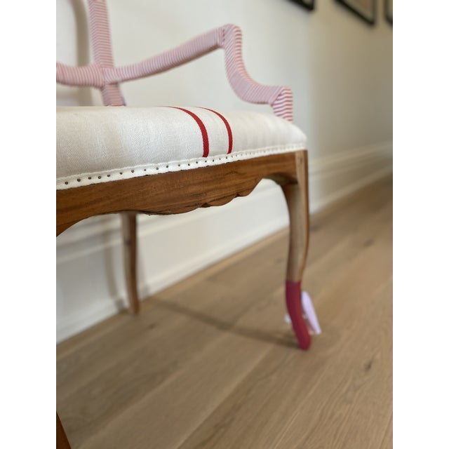 Contemporary Bunakara Two Stripe Arm Chair in Imperial Red For Sale - Image 3 of 7