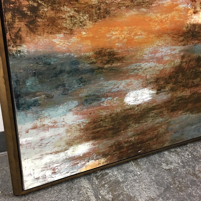"""Horchow Original Oil Painting Titled """"Luminescence"""" in Custom Frame - Image 5 of 11"""