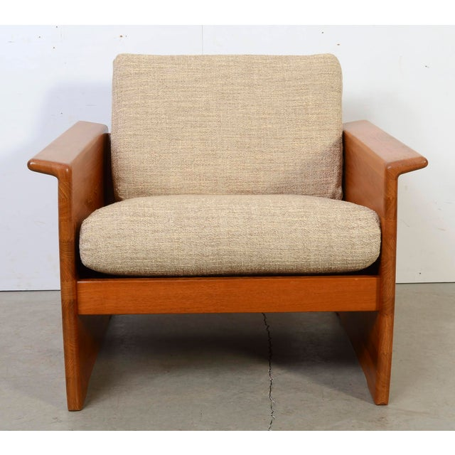 Tarm Stole Teak Lounge Chair Very nice design details. Solid Teak. Pillows are loose and have zippers as shown....