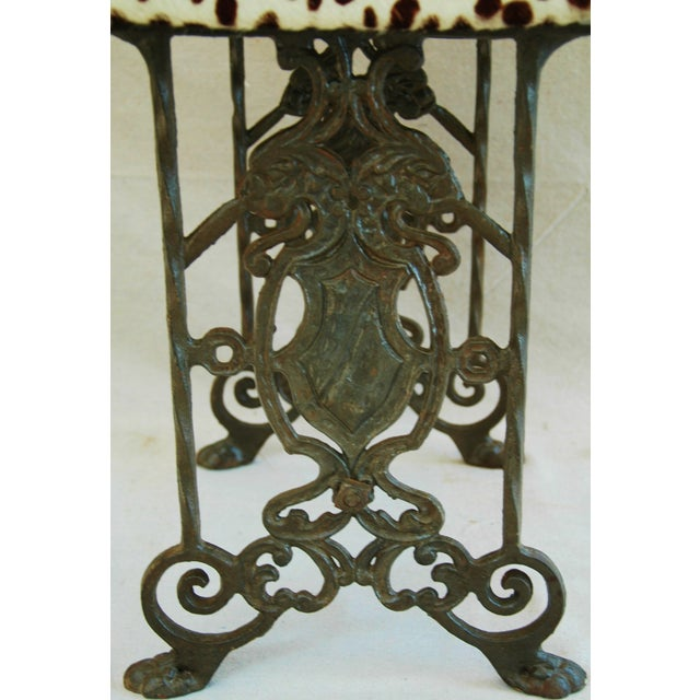 1930s Iron & Cheetah Spotted Cowhide Bench - Image 5 of 11