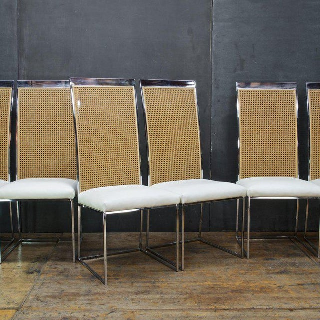 Six 1970s Milo Baughman High Back Cane Chrome Dining Chairs Postmodern Vintage For Sale In Washington DC - Image 6 of 11