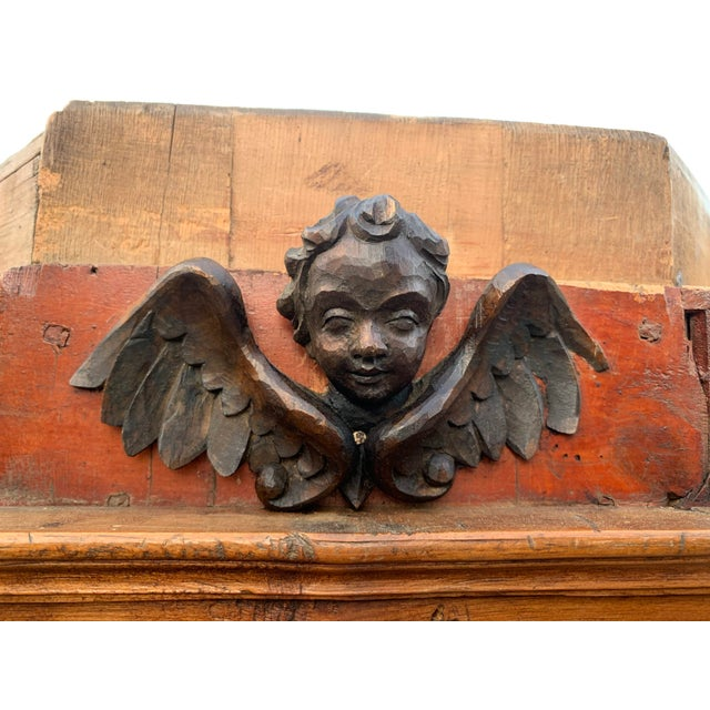 Large Antique Austrian Carved and Red, Green and Brown Painted Wood Armoire 18th C With Winged Puttos For Sale - Image 9 of 13