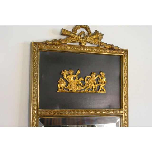 1950s French Brass Classical Small Trumeau Mirror For Sale - Image 4 of 11