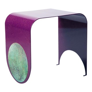 Contemporary Powdered-Coated Steel With a Brass Patina Inlay Thin Stool For Sale