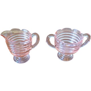 Vintage Blush Glass Sugar & Creamer - A Pair