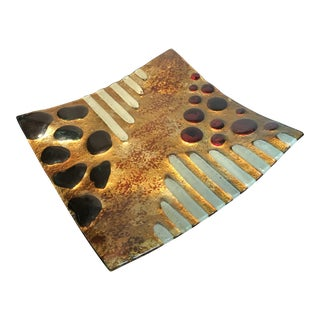 Italian Abstract Mid Century Modern Handmade Metallic Gold Plate For Sale
