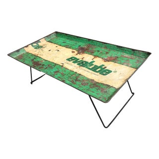 1990s Industrial Distressed Green and Off-White Metal Street Road Sign Coffee Table