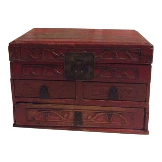 Antique Red Asian Box For Sale