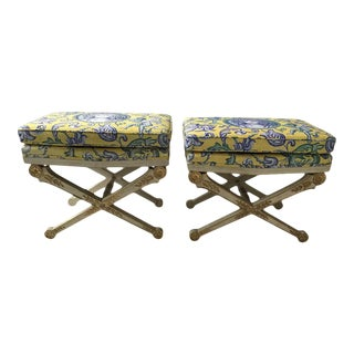 1950s Italian Regency Style Painted Wood and Gilt Benches - a Pair For Sale