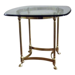 La Barge Brass & Glass Round End Table For Sale