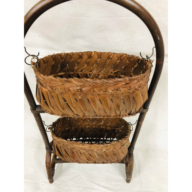Mid 20th Century Mid-Century Bentwood Two Basket Organizer For Sale - Image 5 of 11