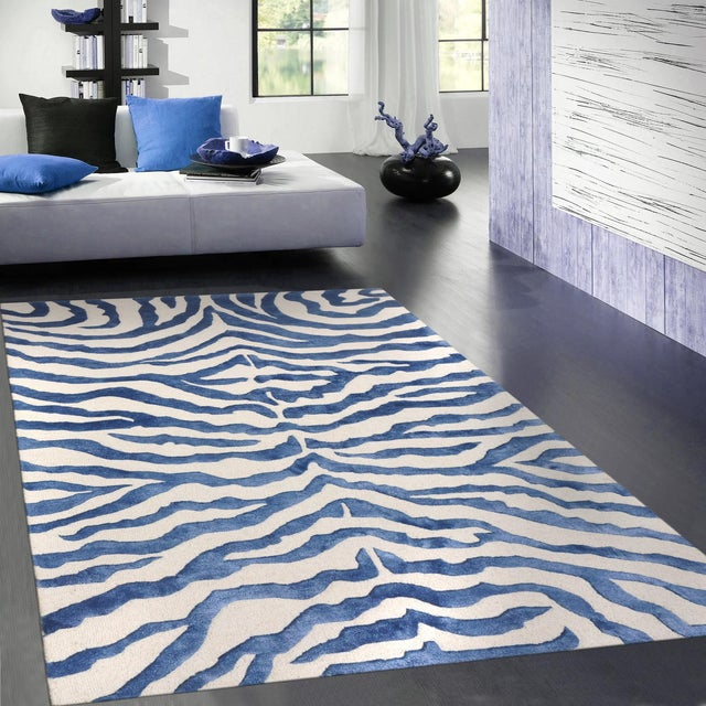 Bamboo Silk and Wool Zebra Area Rug - 5' X 8' - Image 4 of 4