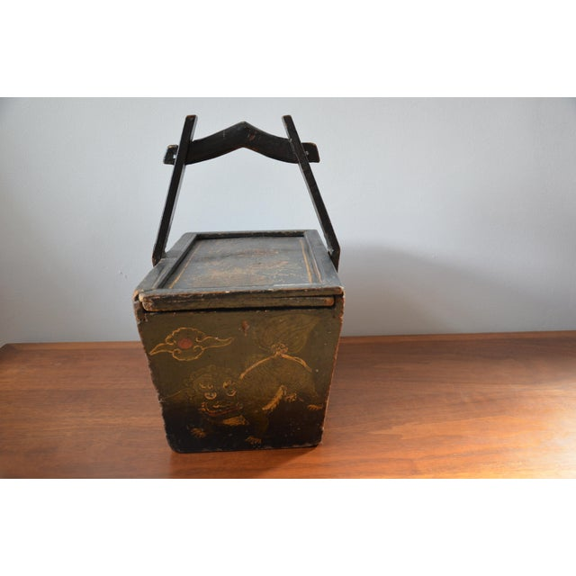 Antique Hand Painted Chinese Wooden Rice Box With Tiger & Dragon For Sale - Image 11 of 13