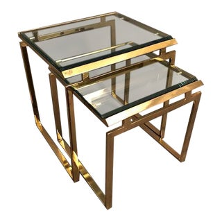 Hollywood Regency Nesting Brass & Beveled Glass Tables - a Pair