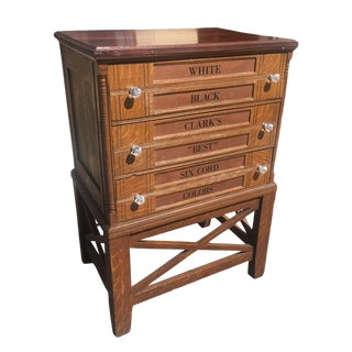 Antique J&p Coats Tiger Oak Spool Thread Chest Cabinet W/ Stand For Sale