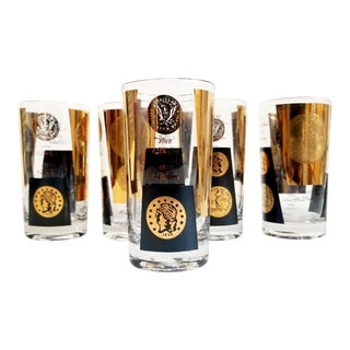 Mid-Century Cera 22kt Gold & Black US Dollar Gold Coins Highball Cocktail Glasses - Set of 5 For Sale