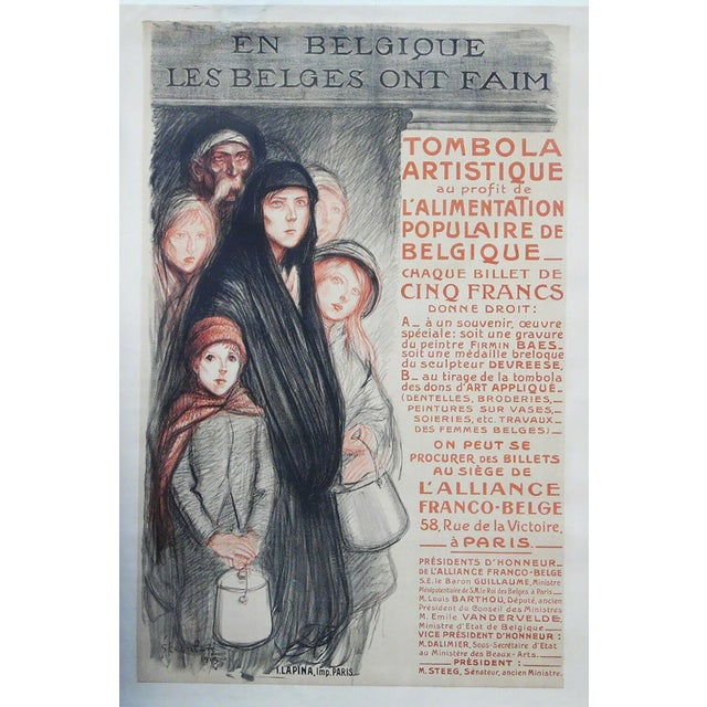 """1915 Art Nouveau Théophile Alexandre Steinlen """"En Belgique Les Belges Ont Fain"""" Lithograph For Sale"""