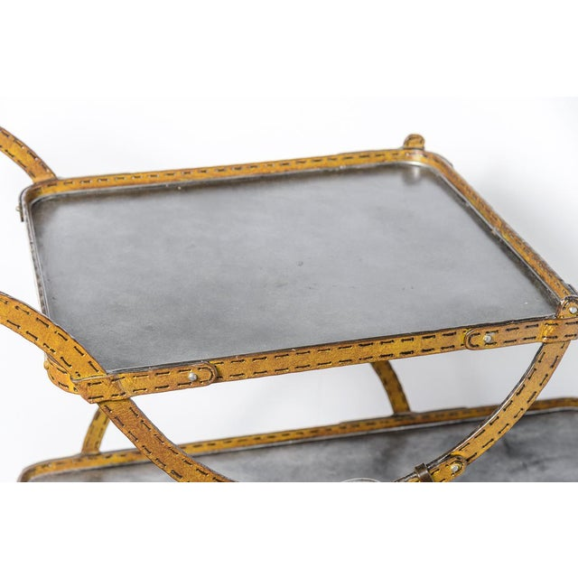 Mid-Century Faux Leather Iron Two tTier Bar Cart, Rare For Sale In West Palm - Image 6 of 13