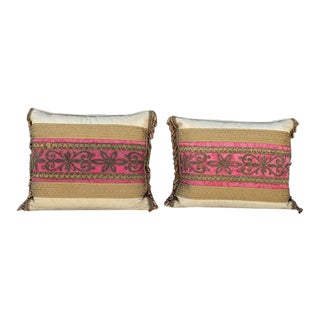 19th C. Italian Metal Thread Red Silk. Fragment Pillows - a Pair For Sale