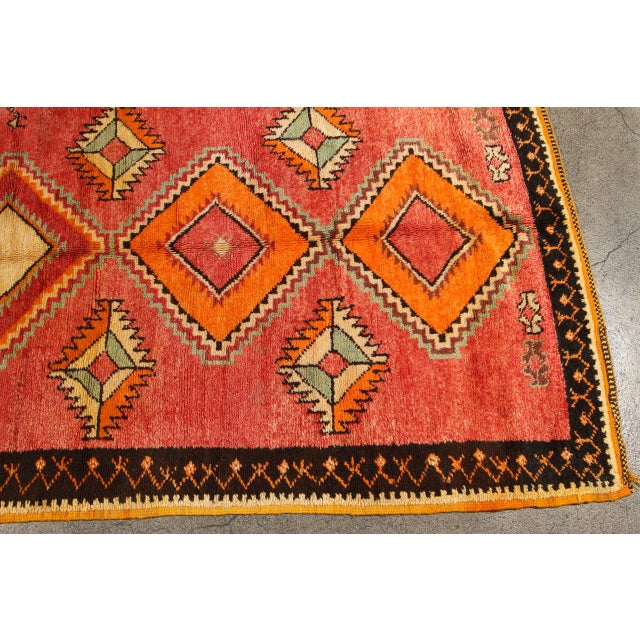 Unique vintage Tribal Moroccan rug runner, free style design, very modernist with bold colors in sage, oranges, cream,...
