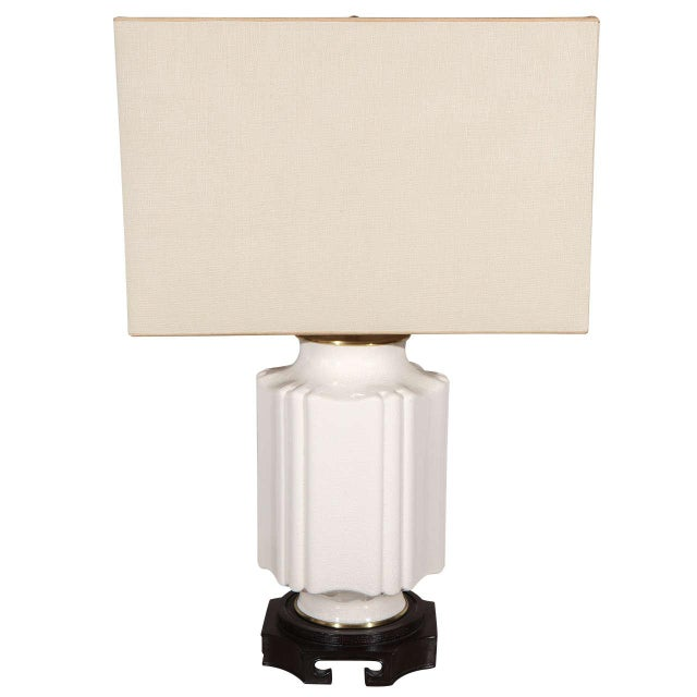 White Chinoiserie White Crackle Glaze Table Lamp For Sale - Image 8 of 8