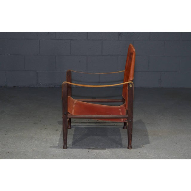 Rud Rasmussen Red Leather Safari Chair by Kaare Klint for Rud Rasmussen For Sale - Image 4 of 8