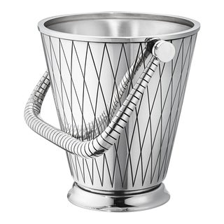 Georg Jensen Sterling Silver Ice Bucket 819d Art Deco Geometric Design New For Sale