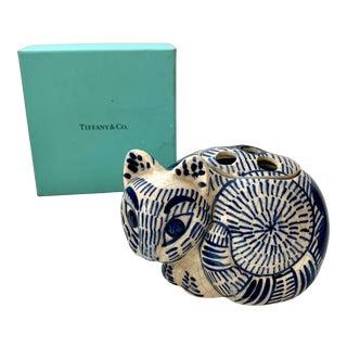 Vintage Tiffany & Co 1978 Ceramic Cat Figurine Frog Vase in Box For Sale