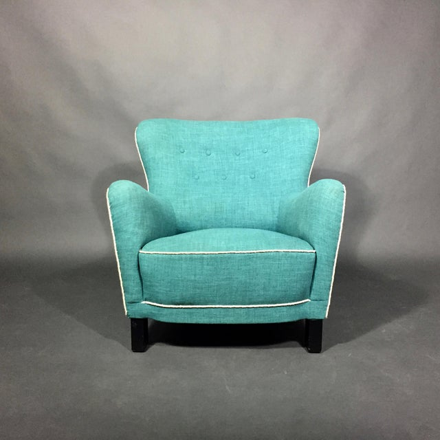 Though diminutive in size, this armchair was built to last from the 1930s or early 1940s with original copper coiled...