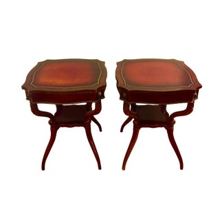 Antique Traditional Mahogany Lamp Tables - a Pair For Sale
