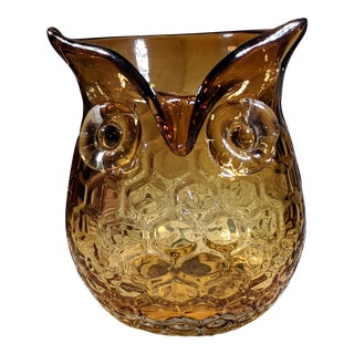 Blown Amber Glass Owl Shaped Candle Holder Vase For Sale