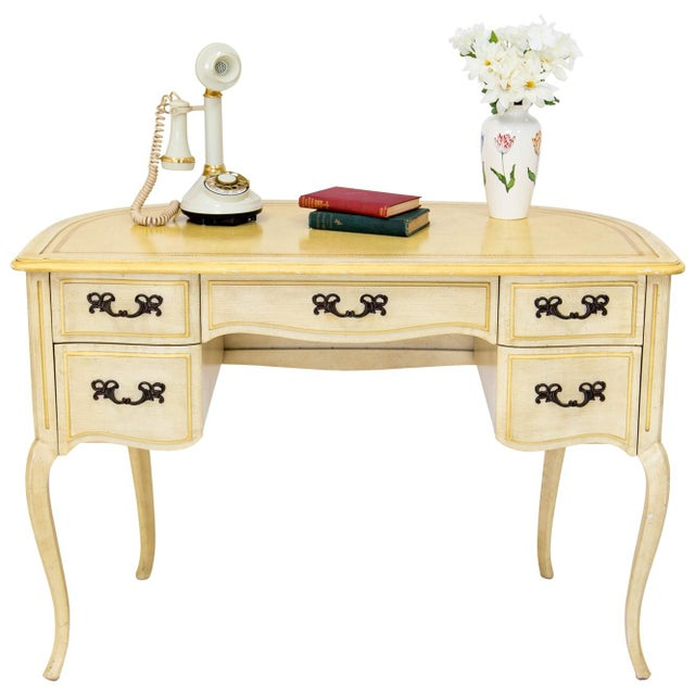 Demilune Desk W/ Leather Top by Sligh For Sale - Image 4 of 11
