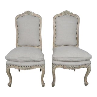 Pair of French Painted Louis XV Side Chairs For Sale