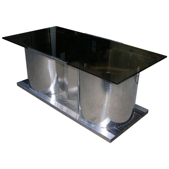 Silver 1970s Italian Smoked Glass Coffee Table With Dry Bar For Sale - Image 8 of 8
