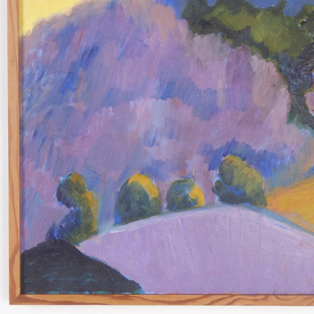 Mid 20th Century Mid-Century Landscape Painting on Canvas by Sally Turner For Sale - Image 5 of 9
