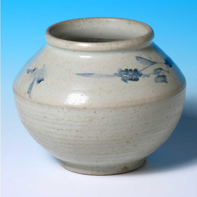 Late 19th Century Antique Korean Blue and White Ceramic Storage Jar For Sale - Image 5 of 5