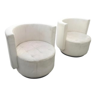 Vintage Milo Baughman Style Contemporary Barrel Back Swivel Club Chairs- a Pair For Sale