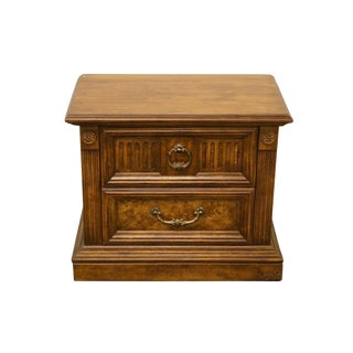 20th Century Italian Stanley Furniture Burled Fruitwood Nightstand For Sale